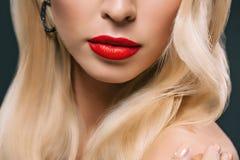 cropped widok model z perfect skóry i czerwieni wargami, obraz stock