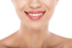 Cropped widok piękna uśmiechnięta kobieta z perfect skórą, Zdjęcie Stock