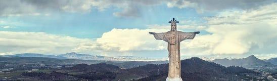 Cropped wizerunek statua Chrystus nad niebem Hiszpania fotografia stock