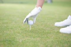 Cropped wizerunek umieszcza piłkę na golfowym trójniku kobieta Obraz Royalty Free