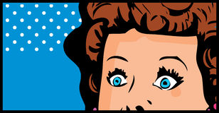 Cropped woman face pop art comic