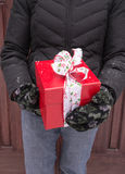 Cropped woman holding Christmas present Royalty Free Stock Photo