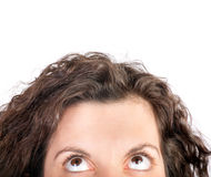 Cropped woman looking up Stock Photo