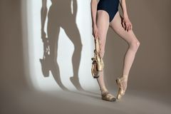 Cropping portrait of the legs graceful ballerina Royalty Free Stock Image
