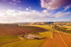 Crops on rural farmland, Australia. Scenic aerial view of farmland and crops in South Gippsland, Victoria, Australia Royalty Free Stock Photography
