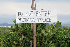 Crops Sprayed with Pesticide. A handwritten sign warns that the berry crop has been sprayed with pesticide stock photos