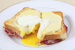 Croque madame cut open Stock Photo