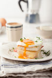 Croque madame, egg, ham, cheese sandwich. Traditional French cuisine. Royalty Free Stock Photography