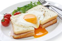 Croque madame , french ham and cheese sandwich wit. H fried egg , on white background Royalty Free Stock Photography