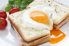 Croque madame , french ham and cheese sandwich wit. H fried egg , on white background Royalty Free Stock Photo