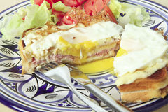 Croque madame horizontal with salad Stock Photography