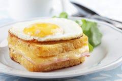 Croque madame sandwich. Closeup on a plate Stock Photo