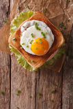Croque madame sandwich closeup on the table vertical top view Royalty Free Stock Photo