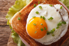 Croque madame sandwich with a fried egg close-up. horizontal top Royalty Free Stock Photography