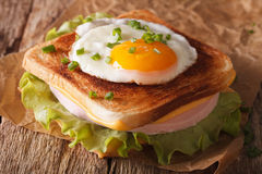 Croque Madame sandwich on a table close-up. horizontal Stock Photo