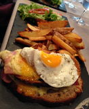 Croque Madame. Sandwich & x28;traditional french breakfast& x29 Royalty Free Stock Images