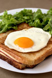 Croque madame. Traditional french croque-madame with fried add and green salad Stock Photo