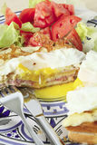 Croque madame vertical with salad Royalty Free Stock Photos