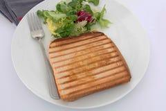 Croque-monsieur. Bread tart on a white background Royalty Free Stock Photos