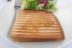 Croque-monsieur. Bread tart on a white background Royalty Free Stock Photography