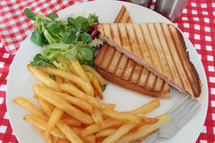 Croque-monsieur. Bread tart on a white background Royalty Free Stock Photo