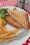 Croque-monsieur. Bread tart on a white background Stock Photo