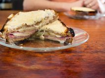 Croque Monsieur French Grilled Ham and Cheese Sandwich Stock Photos