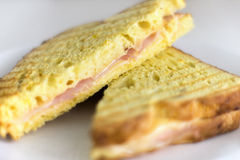 Croque monsieur. Fresh grilled ham and chesse sandwich (croque monsieur Royalty Free Stock Photos