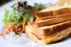 Croque Monsieur sandwich. A croque monsieur sandwich, or hot ham and cheese, with salad and pearl onions Stock Images