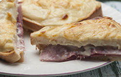 Croque-monsieur. Sandwich bread with grated cheese bechamel and ham recipe cooked French croque-monsieur Stock Images
