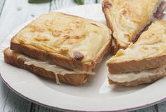 Croque-monsieur. Sandwich bread with grated cheese bechamel and ham recipe cooked French croque-monsieur Stock Photography