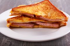 Croque monsieur sandwich. Croque monsieur - fried boiled ham and cheese sandwich Royalty Free Stock Photo