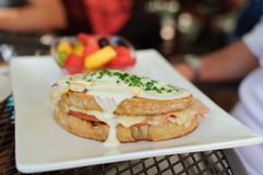 Croque Monsieur. Sandwich served at a Bistro Royalty Free Stock Images