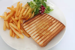 Croque-monsieur. On a white background Stock Image