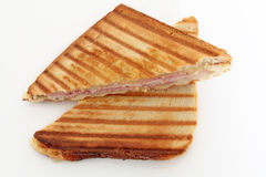 Croque-monsieur. On a white background Stock Images