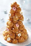 Croquembouche with Pink and White Frosting Roses Stock Photos