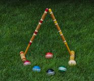 Croquet balls and mallets Royalty Free Stock Photography