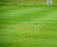 Croquet court. With wicket balls royalty free stock photos