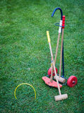 Croquet equipment on lawn Royalty Free Stock Image