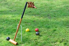 Croquet Equipment and   skittles. Croquet Equipment and outdoor  skittles Royalty Free Stock Photos