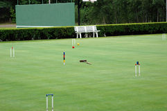 Croquet field. A croquet playing field during play Stock Photo