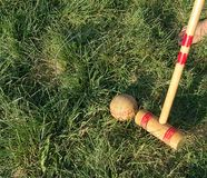 Croquet game. Playing croquet in the back yard in bare feet Royalty Free Stock Photos