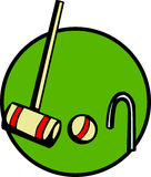 Croquet game with mallet, wicket and ball. Vector. Illustration of a croquet game with a wooden mallet, wicket and ball. Vector file available in EPS format Royalty Free Stock Photography