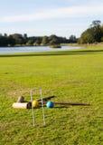 Croquet réglé sur la pelouse anglaise Photo libre de droits