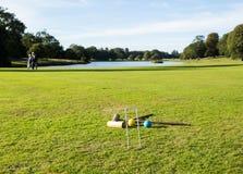 Croquet réglé sur la pelouse anglaise Image libre de droits