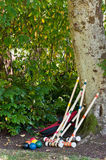 Croquet Set. A vertical image of a set of croquet balls and mallets, the latter leaning against a tree.  Copy space Royalty Free Stock Photo