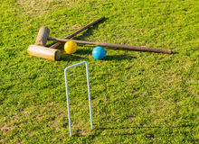 Croquet set on english lawn Royalty Free Stock Photo