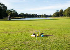 Croquet set on english lawn Royalty Free Stock Image