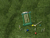 Croquet Set on the Lawn Stock Photography