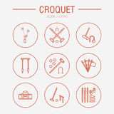 Croquet sport game vector line icons. Ball, mallets, hoops, pegs, corner flags. Garden, lawn activities signs set Stock Photos